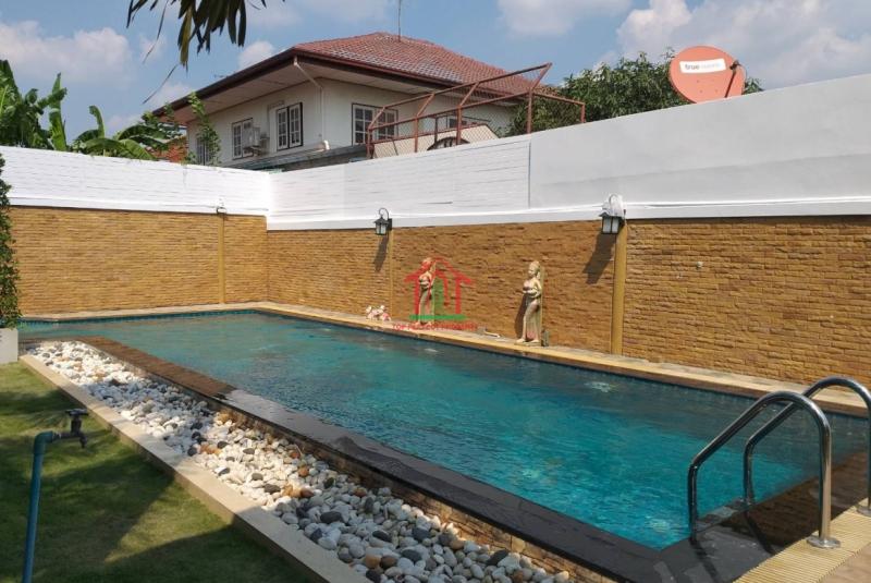 บ้านเดี่ยวสภาพใหม่ สไตล์โมเดิร์น พร้อมสระว่ายน้ำส่วนตัว ใกล้ mrt ตลาดบางใหญ่ นนทบุรี